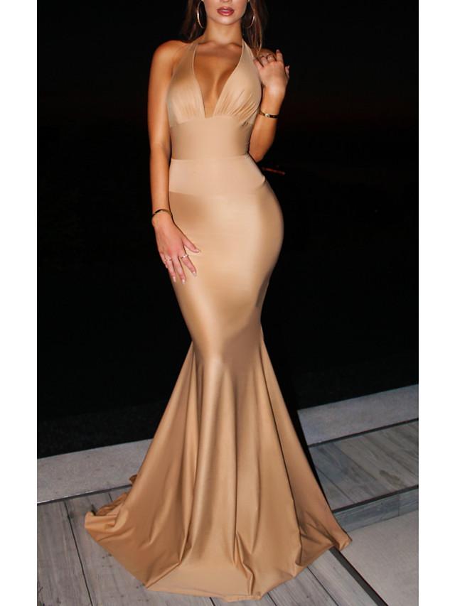 Mermaid / Trumpet Beautiful Back Sexy Engagement Formal Evening Dress Halter Neck Sleeveless Sweep / Brush Train Spandex with Sleek Bow(s) 2021
