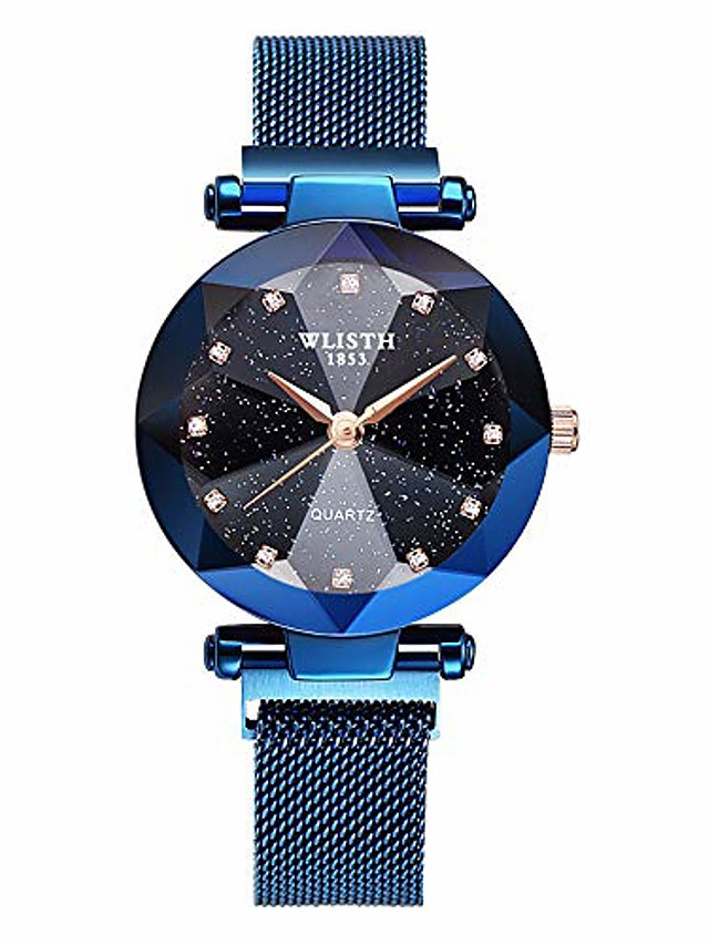 wlisth fashion analogue quartz ladies watches magnetic mesh band starry sky dial simulated diamond wrist watches c