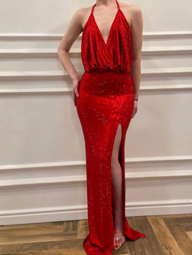 Sheath / Column Beautiful Back Sexy Engagement Formal Evening Dress V Neck Sleeveless Sweep / Brush Train Sequined with Sequin Split 2021