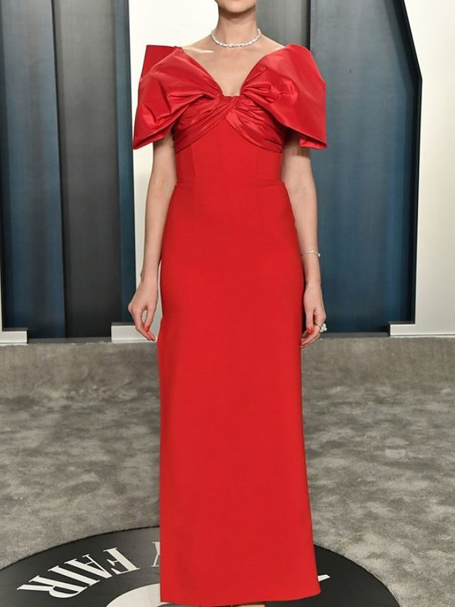 Sheath / Column Celebrity Style Elegant Prom Formal Evening Dress V Neck Half Sleeve Floor Length Spandex Taffeta with Bow(s) Split 2021