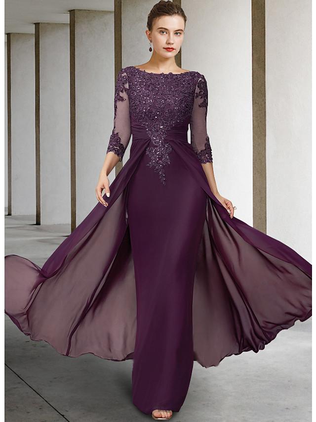 Sheath / Column Mother of the Bride Dress Elegant Sparkle & Shine Jewel Neck Asymmetrical Floor Length Chiffon Lace 3/4 Length Sleeve with Sequin Appliques 2021