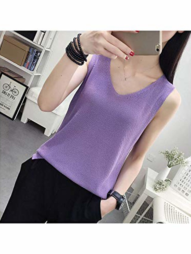 Women Knitted Vest Sleeveless Casual Knitted Vests Top Loose Sweater Casual Knitted Vests,Purple,XXL