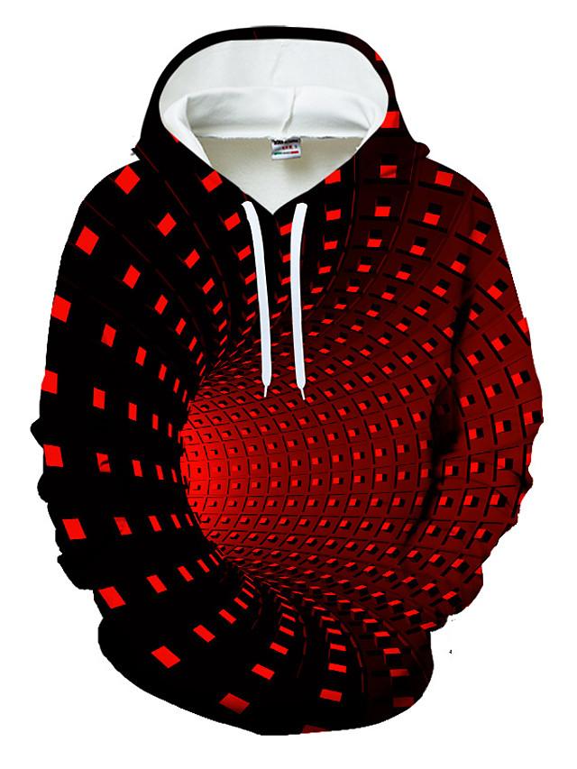 Men's Pullover Hoodie Sweatshirt Optical Illusion Geometric 3D Print Casual Hoodies Sweatshirts  Black Blue Purple