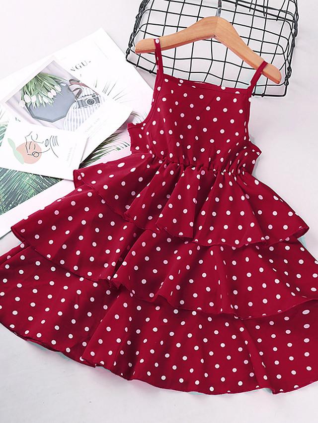 Kids Little Girls' Dress Polka Dot Print White Black Red Sleeveless Basic Cute Dresses Regular Fit