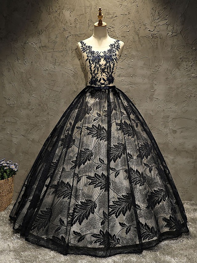 Ball Gown Beautiful Back Sexy Quinceanera Prom Dress Illusion Neck Sleeveless Floor Length Lace with Pleats Lace Insert 2021