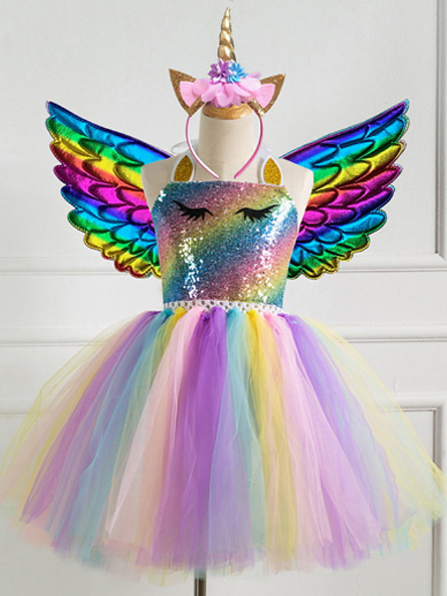 Kids Little Girls' 2-8 Years Dress Unicorn Rainbow Party Dress Birthday Purple Gold Silver Sequins Princess Cute Dresses