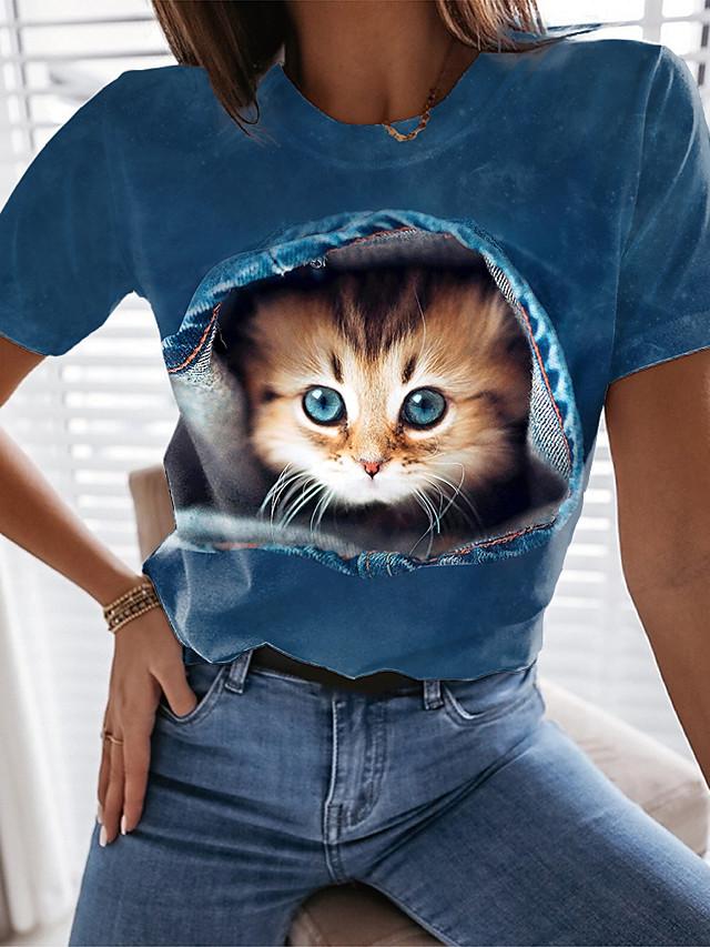 Dam 3D Cat T-shirt Katt Grafisk 3D Tryck Rund hals Grundläggande Blast Blå
