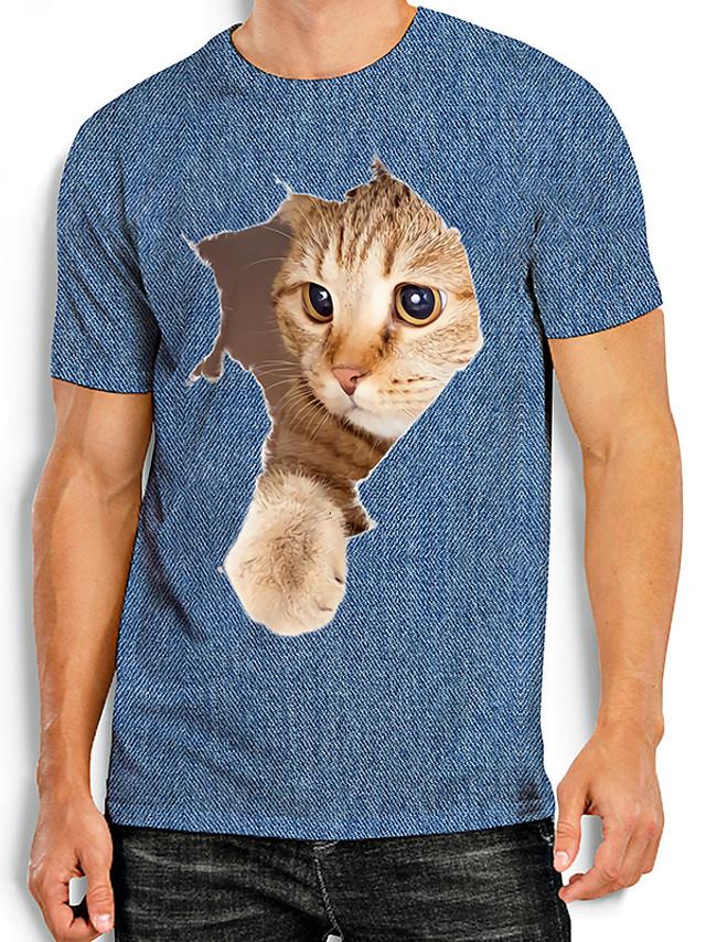Herre T-skjorter T skjorte Skjorte Andre trykk Katt Grafiske trykk Dyr Trykt mønster Kortermet Daglig Topper Grunnleggende Fritid Blå