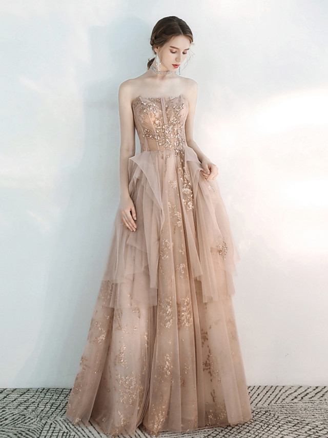 A-Line Glittering Floral Engagement Formal Evening Dress Strapless Sleeveless Floor Length Tulle with Appliques 2021