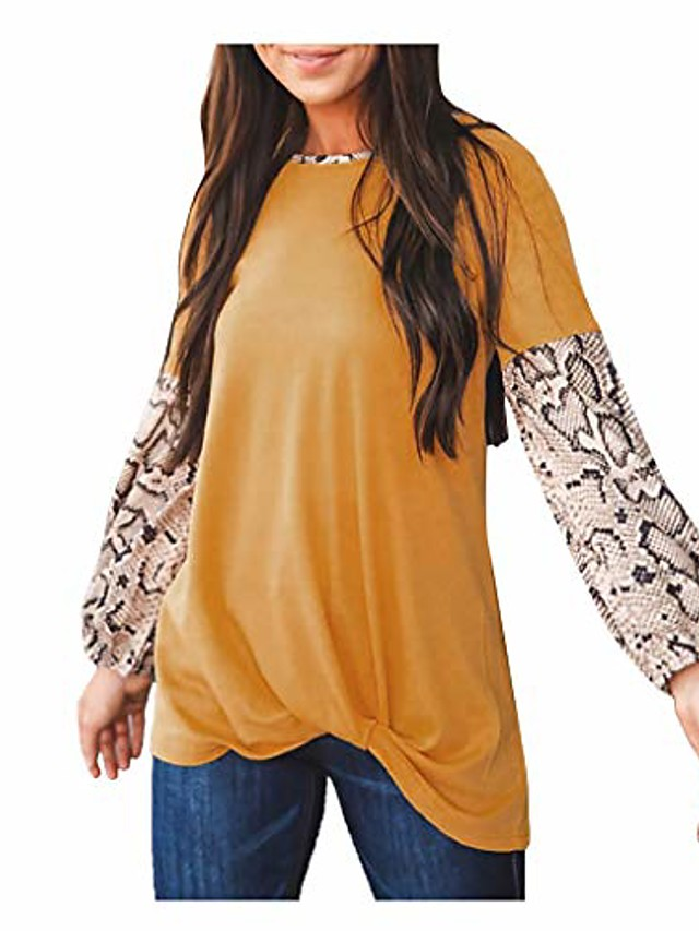 womens tops long sleeve tunic hessimy womens loose crew neck long sleeve leopard print blouse top t-shirts yellow