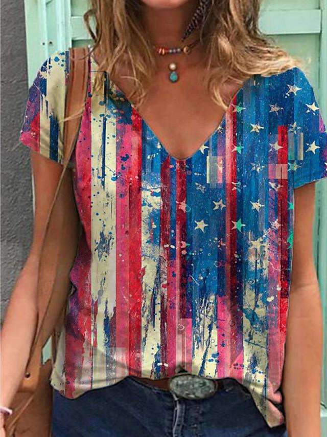 Women's T shirt Flag Print V Neck Tops Cotton Basic Basic Top Rainbow