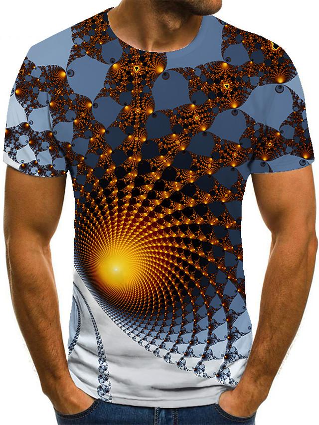 Ανδρικά Μπλουζάκι Πουκάμισο 3D εκτύπωση Γεωμετρικό 3D εκτύπωση Στάμπα Κοντομάνικο Causal Άριστος Καθημερινό Μοντέρνα Στρογγυλή Λαιμόκοψη Λευκό