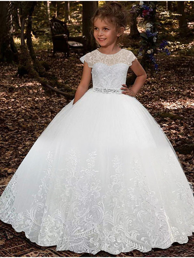 Ball Gown Floor Length Party / Wedding Flower Girl Dresses - Lace / Tulle Sleeveless Jewel Neck with Pleats / Solid