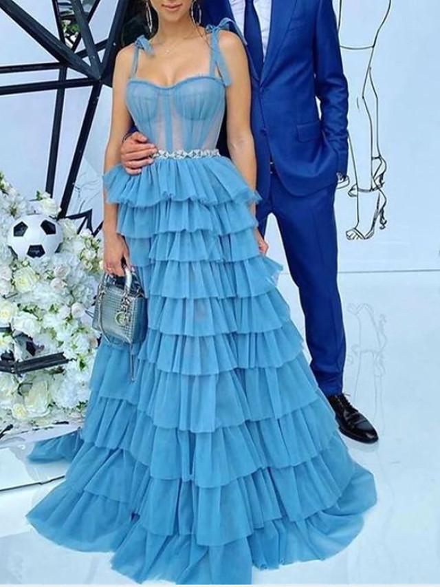 A-Line Elegant Vintage Engagement Formal Evening Dress Spaghetti Strap Sleeveless Sweep / Brush Train Tulle with Split Tier 2021