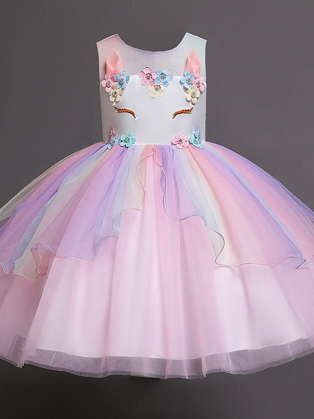 Kids Little Girls' Dress Jacquard Color Block Layered Blue Purple Blushing Pink Knee-length Sleeveless Flower Cute Dresses Children's Day Slim 3-12 Years