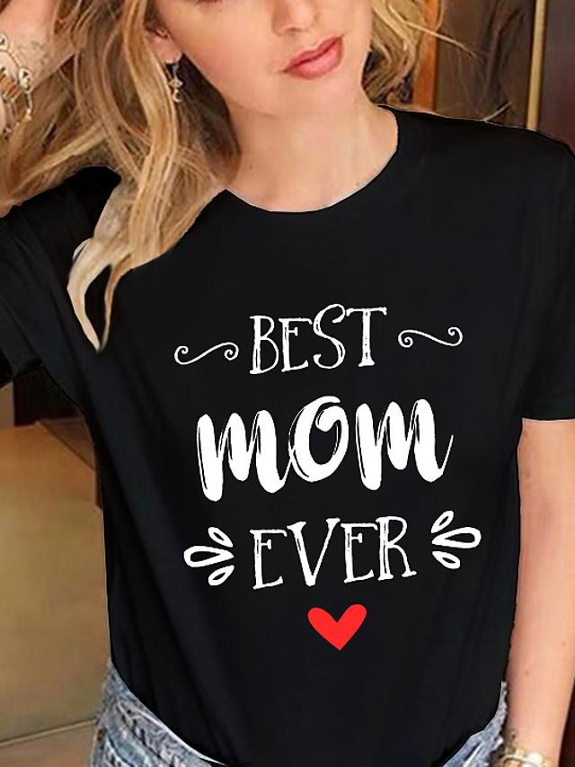 Naisten T-paita Sydän Teksti Painettu Pyöreä kaula-aukko Topit 100% puuvilla Perus Basic-alkuun Valkoinen Musta