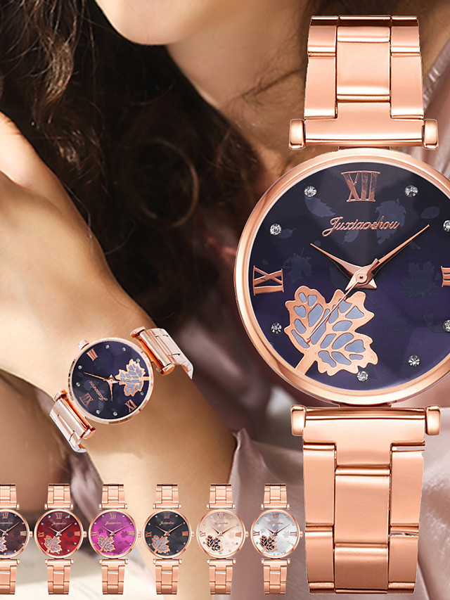 Women's Steel Band Watches Analog - Digital Quartz Stylish Floral Style Minimalist Creative