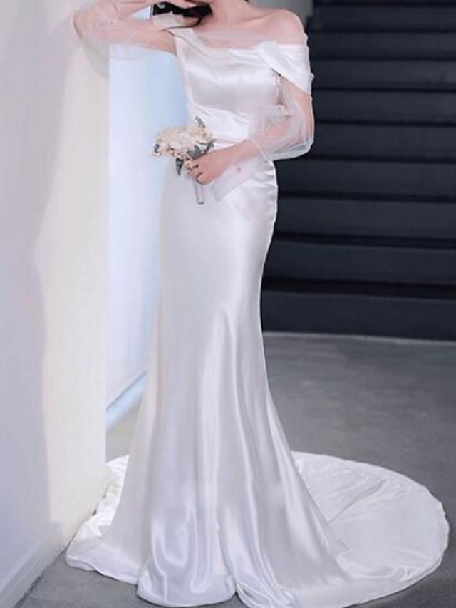 Mermaid / Trumpet Minimalist Elegant Engagement Formal Evening Dress Off Shoulder Long Sleeve Court Train Charmeuse with Sleek 2021