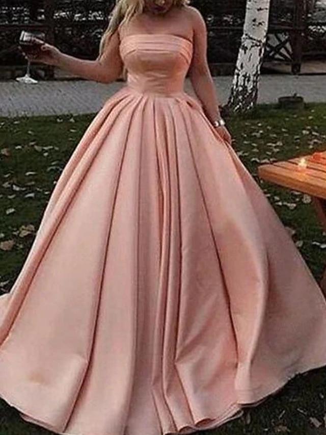 Ballkjole Minimalistisk Elegant Bryllupsgjest Skoleball Kjole Stroppeløs Ermeløs Gulvlengde Sateng med Plissert 2021