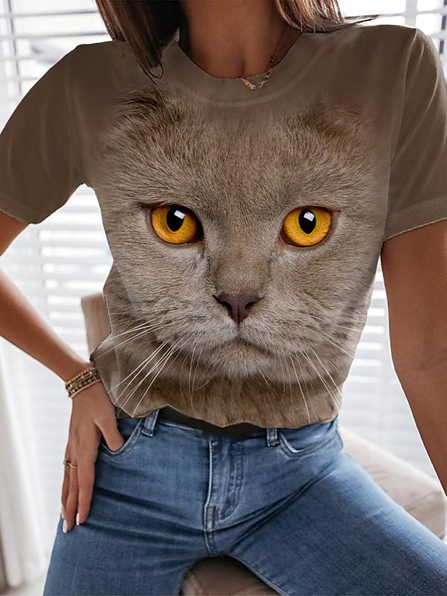 Dam Utekväll 3D Cat T-shirt Katt Grafisk 3D Tryck Rund hals Grundläggande Blast Blå Kaki