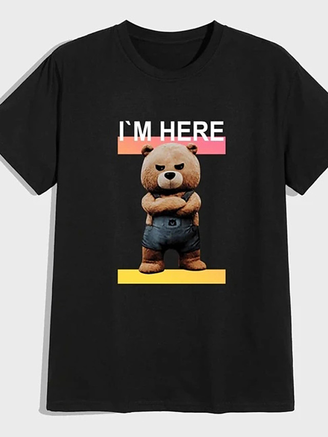 Men's Unisex Tee T shirt Shirt Hot Stamping Graphic Prints Toy Bear Plus Size Print Short Sleeve Casual Tops 100% Cotton Basic Designer Big and Tall Round Neck Black / Summer