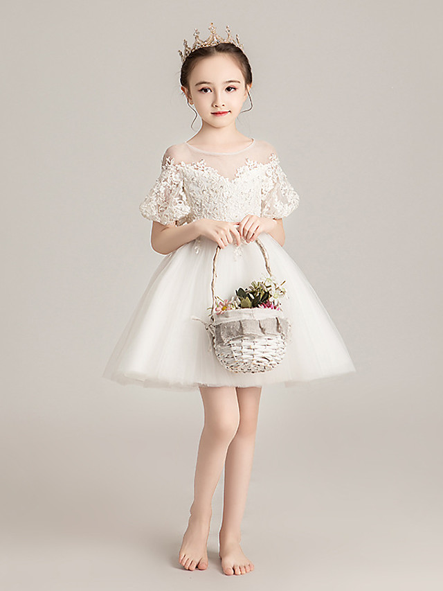Princess Short / Mini Event / Party / First Communion Flower Girl Dresses - Tulle Short Sleeve Illusion Neck / Jewel Neck with Beading / Appliques / Solid