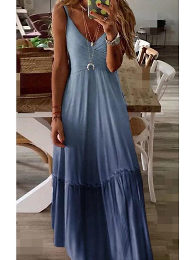 Mujer Vestido de Columpio Vestido largo maxi Azul Piscina Morado Amarillo Rosa Vino Gris Sin Mangas Color sólido Verano Escote en Pico Casual 2021 S M L XL XXL 3XL 4XL 5XL