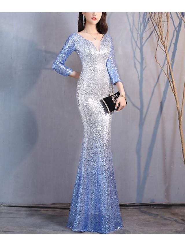 Mermaid / Trumpet Color Block Sparkle Wedding Guest Formal Evening Dress V Neck 3/4 Length Sleeve Floor Length Spandex with Sequin 2021