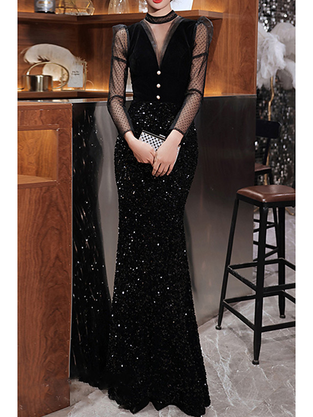 Mermaid / Trumpet Sparkle Sexy Engagement Formal Evening Dress High Neck Long Sleeve Floor Length Sequined with Buttons Sequin 2021