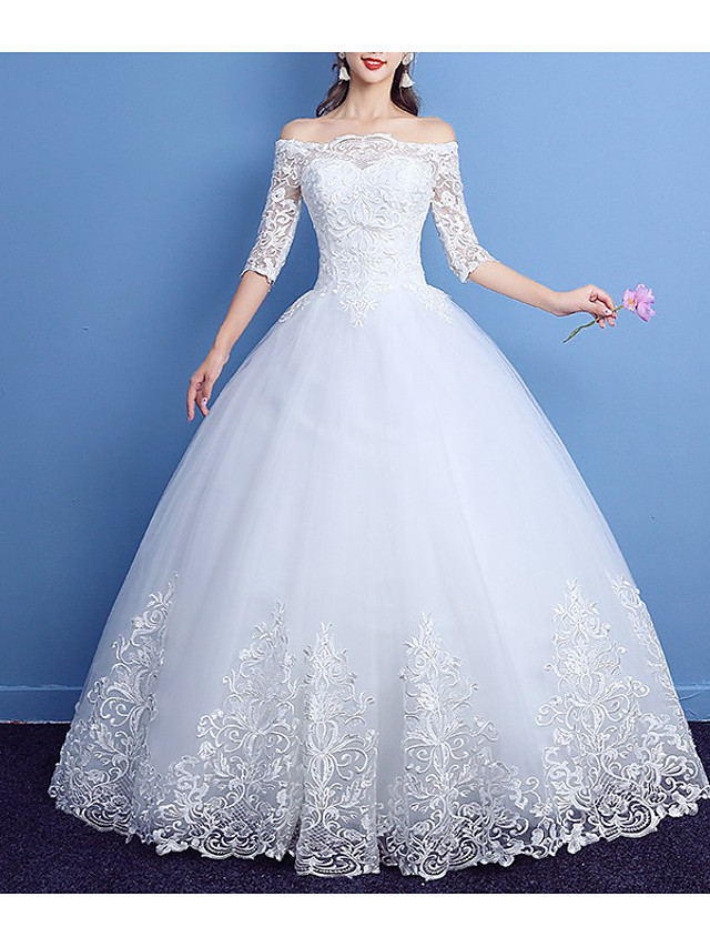 Princess Ball Gown Wedding Dresses Off Shoulder Floor Length Lace Tulle 3/4 Length Sleeve Romantic with Pleats Appliques 2021