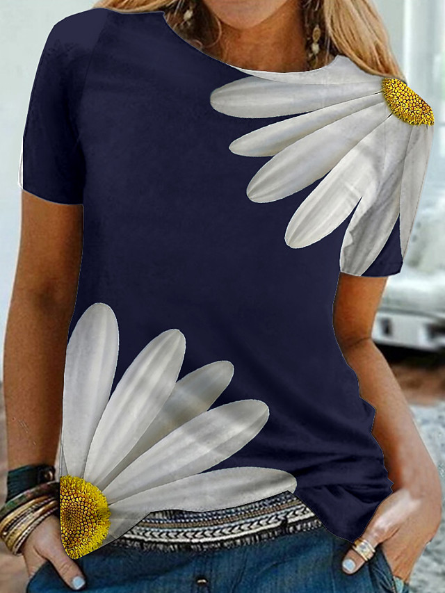 Women's Daisy Painting T shirt Floral Graphic 3D Print Round Neck Basic Tops Black Green Navy Blue