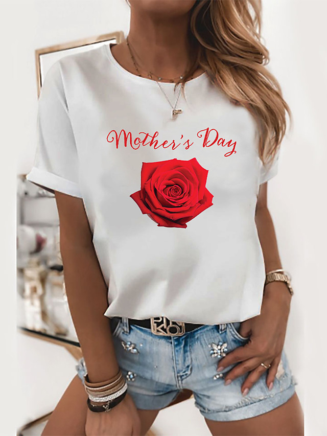 Women's Floral Theme Painting T shirt Floral Graphic Letter Print Round Neck Basic Tops 100% Cotton White Black