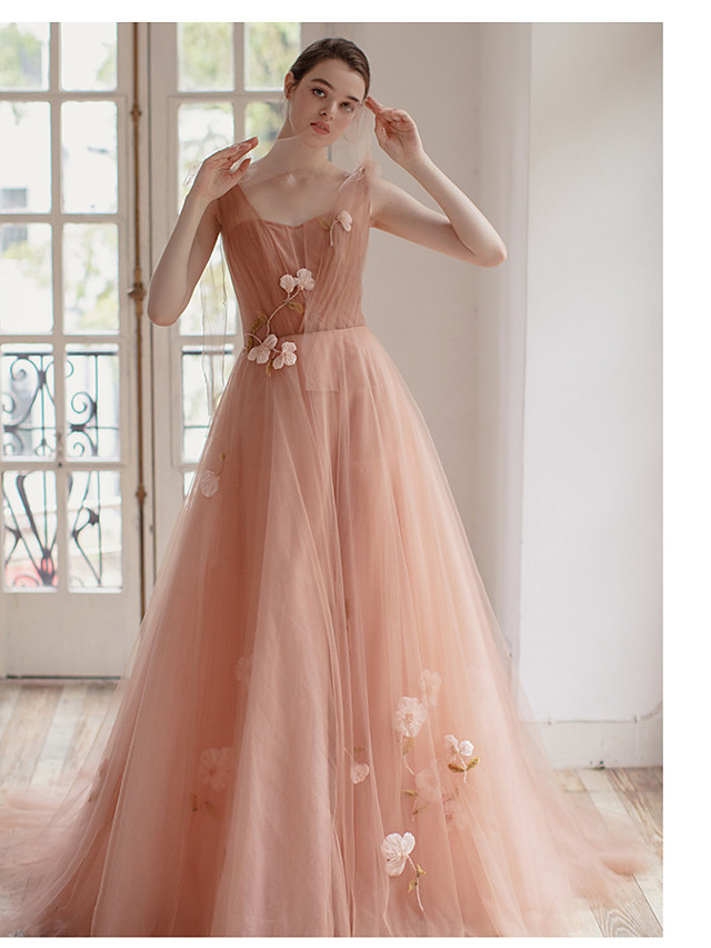 Ball Gown Plunging Neck Court Train Tulle Bridesmaid Dress with Appliques