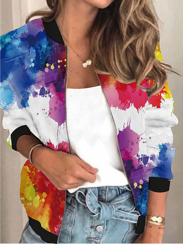 Damen Jacke Ausgehen Frühling & Herbst Standard Mantel Ständer Lose 3D-Druck Aktiv Jacken Langarm Einfarbig Patchwork Regenbogen / Arbeit