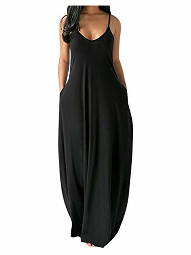 kadınlar için elbiseler, bayan kolsuz v yaka cepler yazlık elbiseler gündelik kokteyl parti elbise gevşek uzun elbise sundress