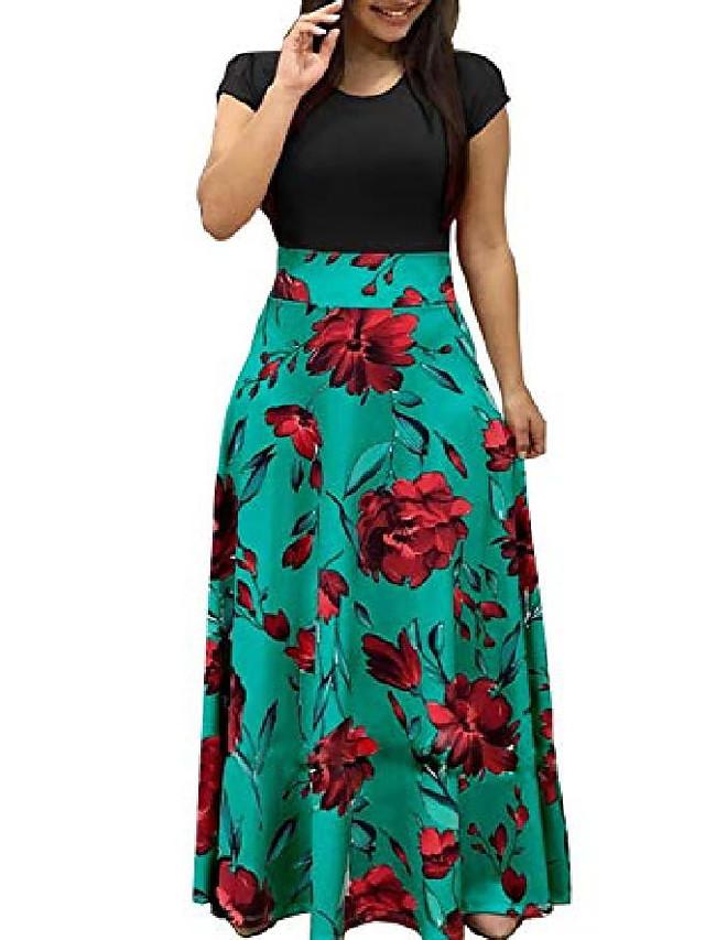 rochii femei cu mâneci scurte largi, casual, lungi, lungi, cu imprimeu floral, rochii d4a, verde negru, xx-large