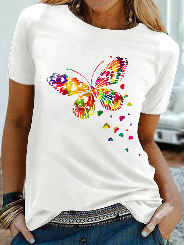 Women's T shirt Graphic Butterfly Print Round Neck Tops 100% Cotton Basic Basic Top White Black