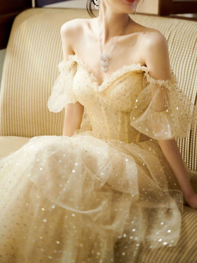 A-Line Sparkle Vintage Engagement Formal Evening Dress Sweetheart Neckline Short Sleeve Floor Length Tulle with Sequin 2021