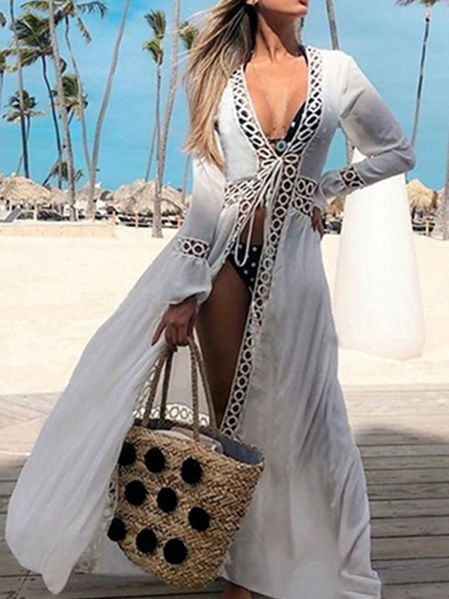 Bikini Cover-ups Sexy Hollow Out White Cotton Tunic Summer Dress Women Beach Wear Swimsuit Cover Up