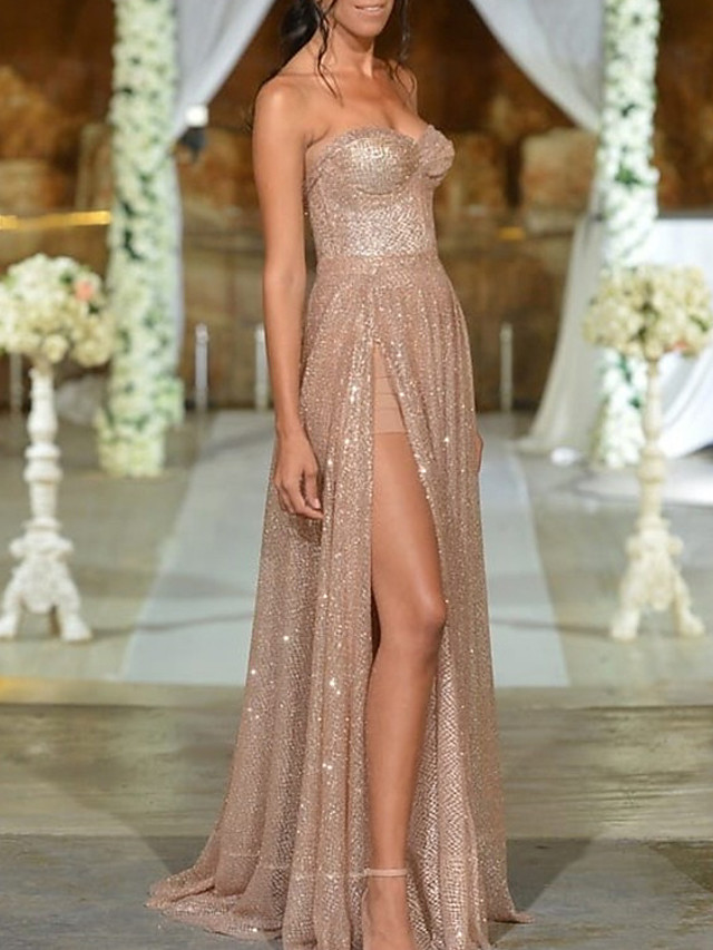 Sheath / Column Sparkle Sexy Engagement Formal Evening Dress Strapless Sleeveless Sweep / Brush Train Sequined with Pleats Sequin Split 2021
