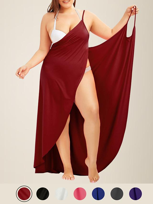litb basic женское пляжное платье больших размеров с v-образным вырезом на бретелях, купальный костюм с открытой спиной, однотонное женское короткое платье с запахом