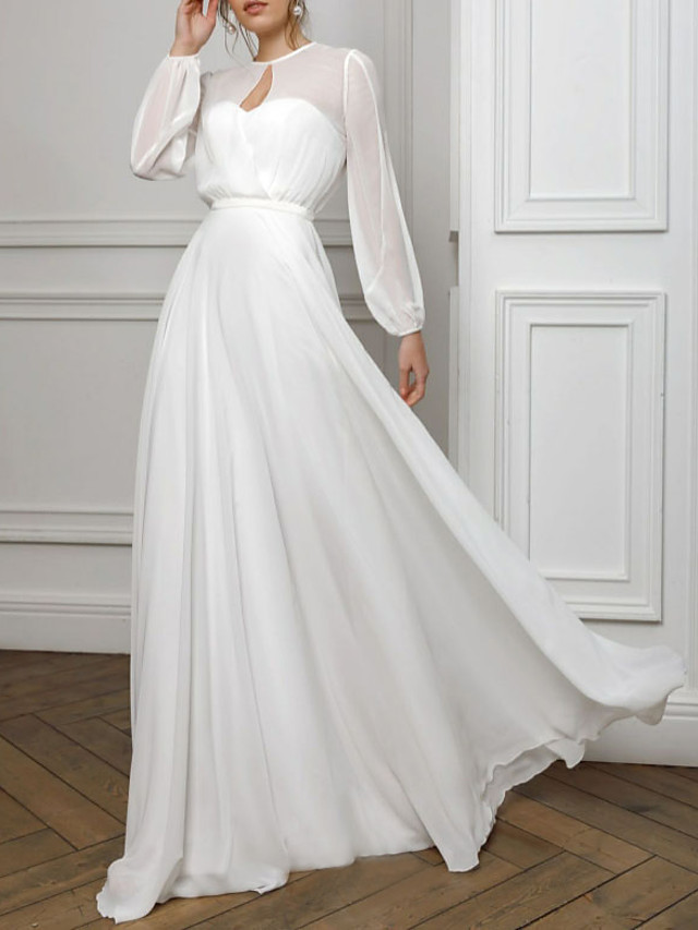 A-Line Empire White Holiday Formal Evening Valentine's Day Dress Illusion Neck Long Sleeve Floor Length Chiffon with Pleats 2021