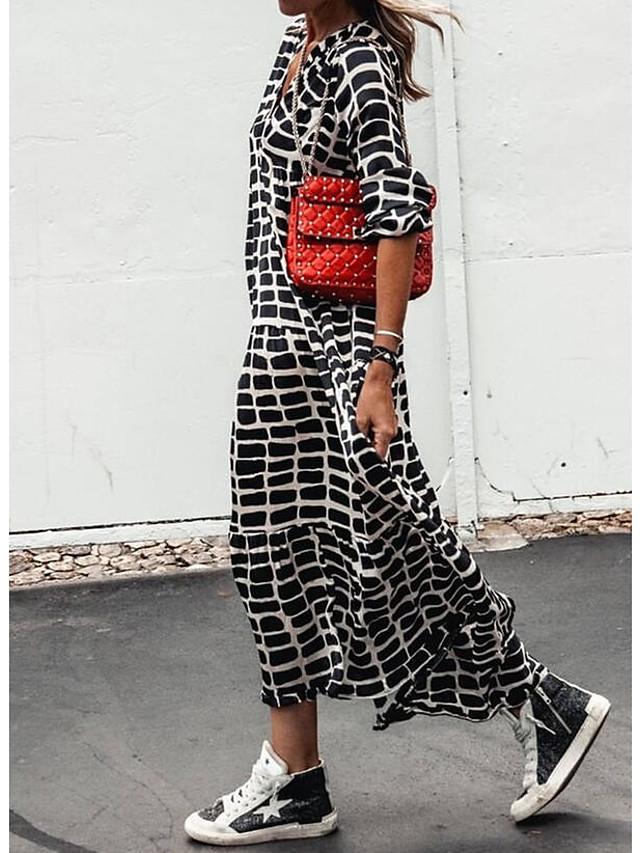 女性用 マキシドレス ブラック 長袖 春 夏 Vネック カジュアル レディースファッション ストライプ