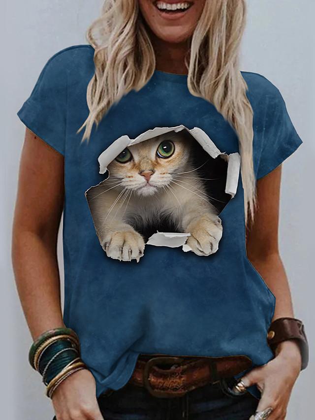 Pentru femei 3D Cat Tricou Pisica Grafic #D Imprimeu Rotund De Bază Topuri Albastru piscină Galben Gri Închis