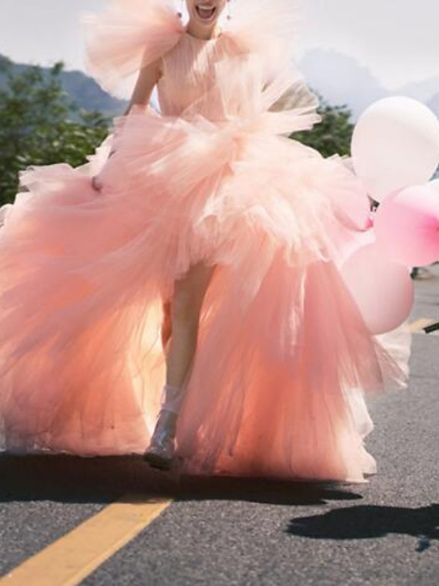 Ball Gown Luxurious Elegant Engagement Prom Dress Jewel Neck Short Sleeve Court Train Tulle with Sash / Ribbon Tier 2021