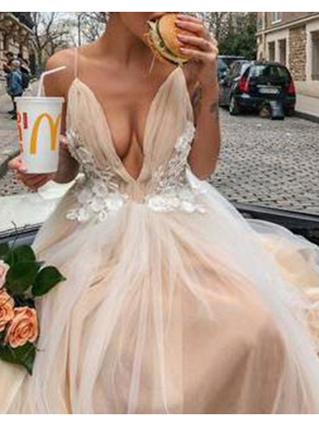 A-Line Sexy Floral Engagement Prom Dress Spaghetti Strap Sleeveless Court Train Tulle with Pleats Appliques 2021