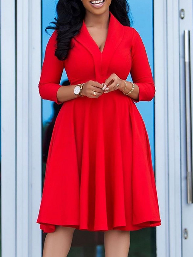 Women's Plus Size Dress A Line Dress Knee Length Dress 3/4 Length Sleeve Solid Color Ruched V Neck Casual Spring Summer Red L XL XXL 3XL