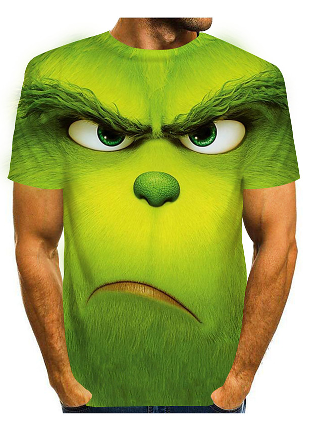 Men's Tees T shirt 3D Print Graphic Prints Animal Short Sleeve Casual Tops Cartoon Big and Tall Purple Green Light Green