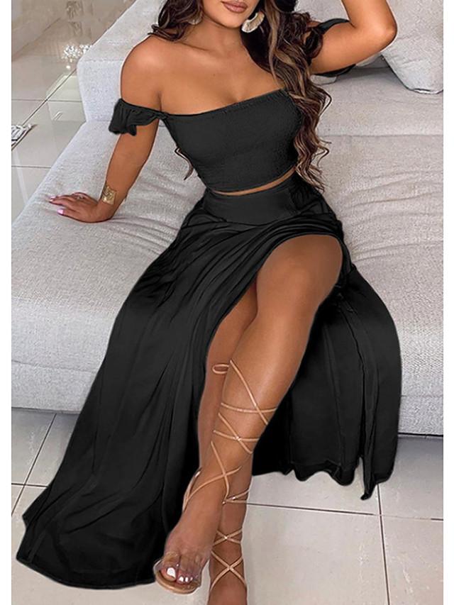 Dame To-delt kjole Maxi lang kjole Hvid Sort Uden ærmer Helfarve Sommer Skulderfri Afslappet 2021 S M L XL