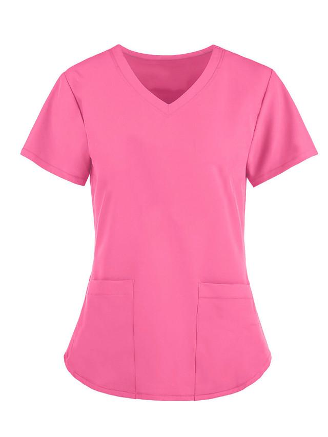 Women's T shirt Plain V Neck Tops Loose Basic Basic Top White Blue Wine